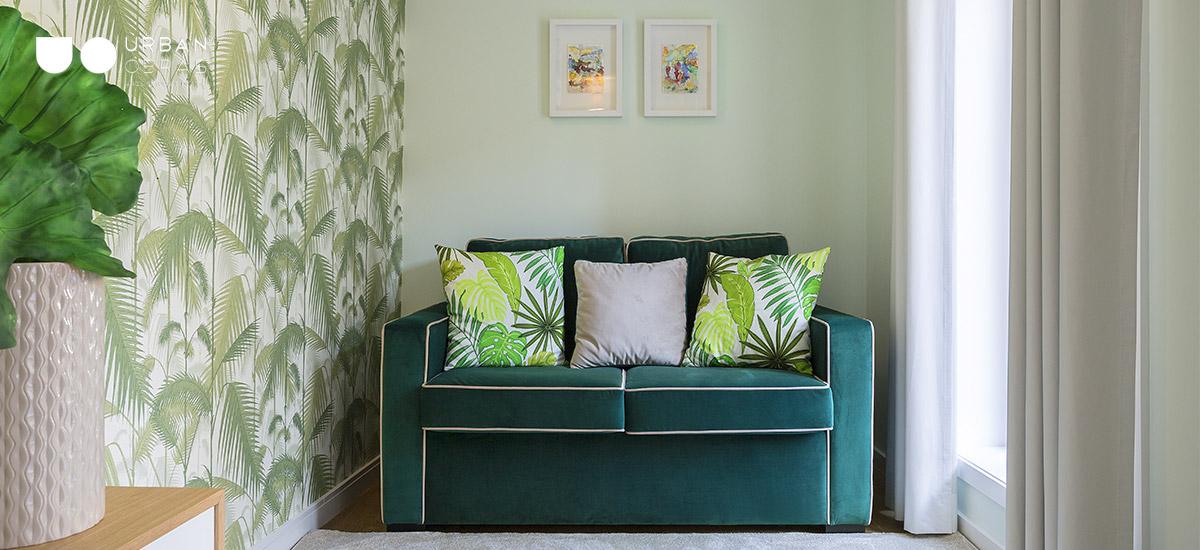 Design de interiores, decoração de casa,recanto em tons de verde, decoração de interiores com detalhe em verde, ideia para decoração de canto, trabalho de decoração Urban Obras