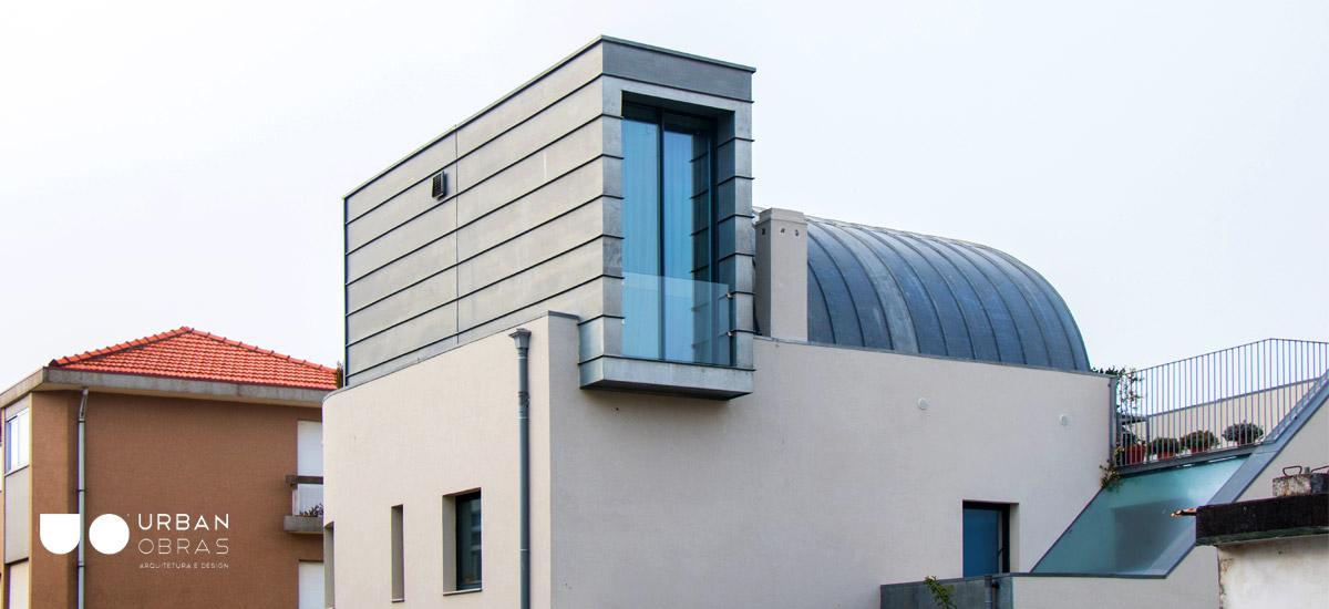 Projeto de remodelação de casa Porto, construção de cúpula moderna, projeto de arquitetura, engenharia, obras de casa Urban Obras