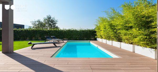 construção de piscina reabilitação total do exterior, reabilitação de jardim e deck