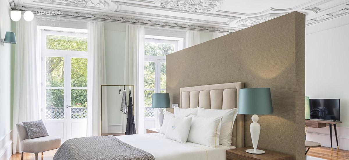 quarto remodelado em guest house, decoração e reabilitação para turismo