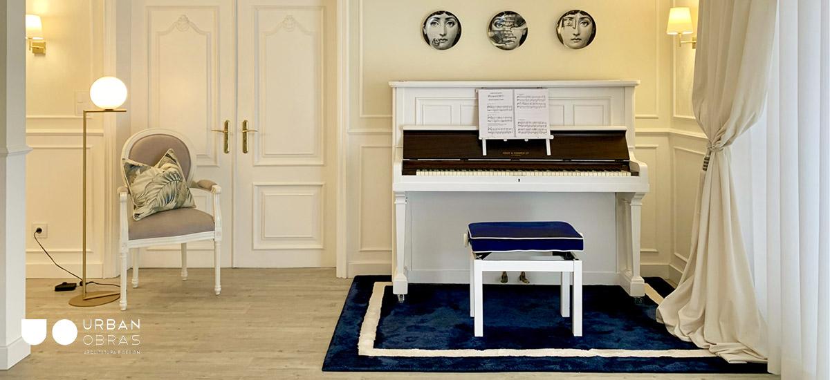Projeto de decoração de interiores, decoração de sala, design de interiores, decoração em azul e dourado, design de interiores