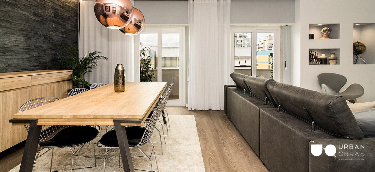 decoração de sala, empresa de decoração de interiores, decoração de sala de estar e jantar, decoração sala cinza com dourado, sala moderna com decoração Urban Obras