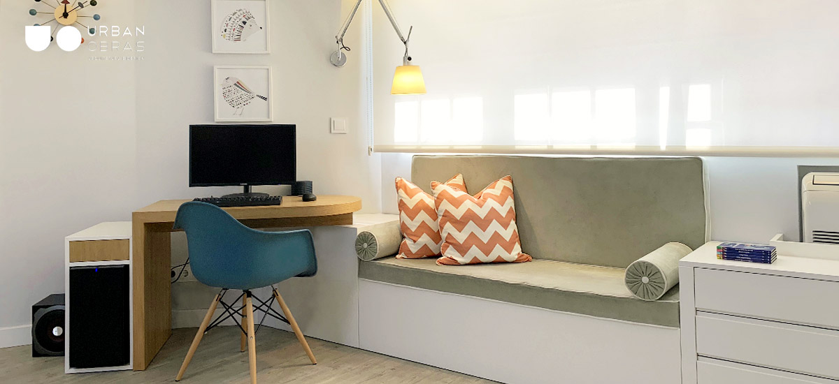 criação de zona de estudo em quarto, decoração de quarto e mobiliário à medida
