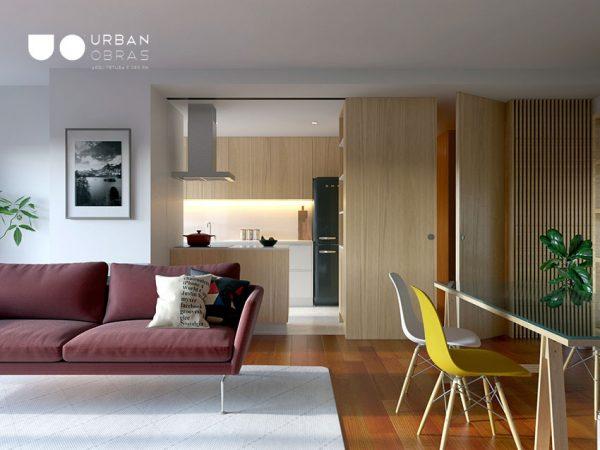 Interior em três dimensões, imagem 3d de projeto de remodelação de interiores