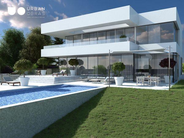 imagem a três dimensões de uma moradia com piscina, desenho 3d para projeto de construção