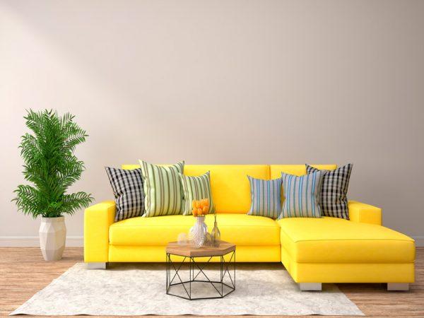 sofá amarelo, cores pantone 2021
