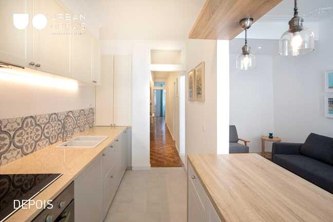 cozinha depois da remodelação de apartamento | Urban Obras | Empresa de remodelações