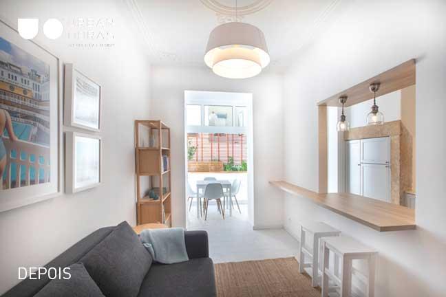 sala depois da remodelação de apartamento | Urban Obras | Empresa de remodelações
